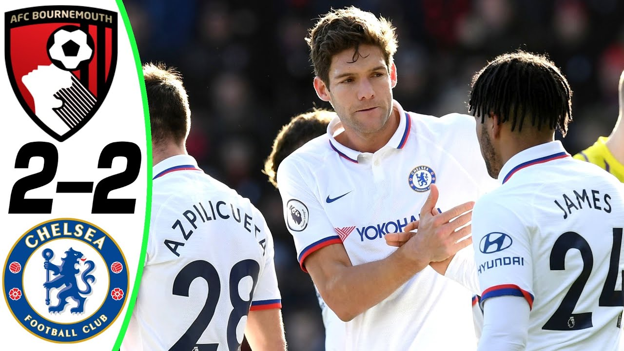 bournemouth vs chelsea 2 2 goals